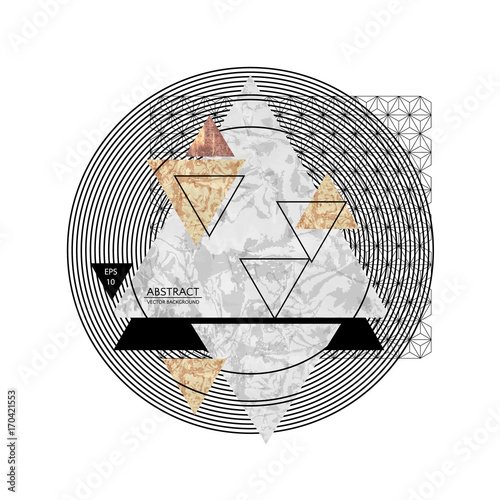 Abstract composition with textured geometric shapes. Marble composition. Vector illustration EPS10.