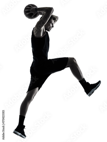Fotobehang Basketbal one caucasian basketball player man isolated in silhouette shadow on white background