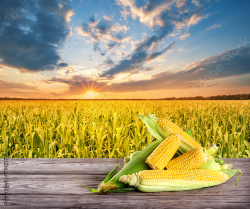 Fotobehang Oranje Tasty corn with leaves on wooden table against the background of