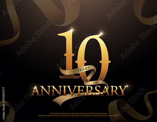 10 year anniversary celebration logotype template. 10th logo with ribbons on black background