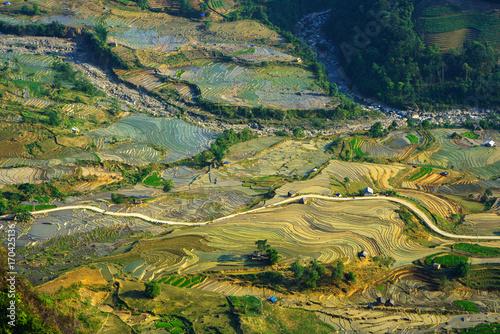 Foto op Plexiglas Rijstvelden Terraced rice field in water season, the time before starting grow rice in Y Ty, Lao Cai province, Vietnam