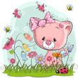 Cute Cartoon Kitten on a meadow