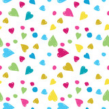 vector seamless pattern colored hearts