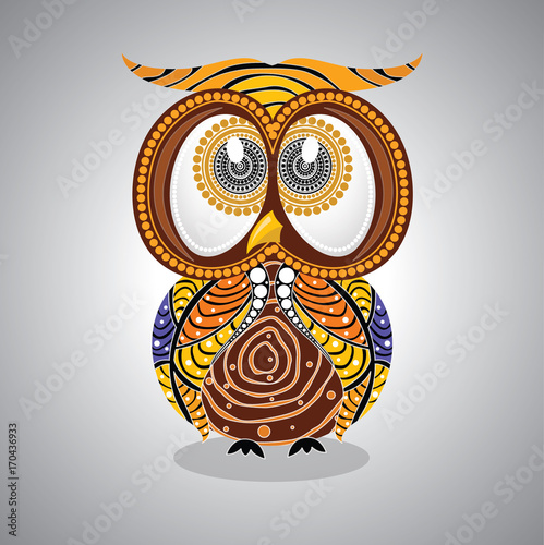 Fotobehang Uilen cartoon Aboriginal Owl Vector. Illustration based on aboriginal style of dot owl.