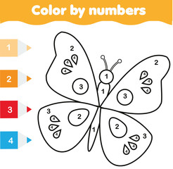 Coloring page with butterfly. Color by numbers educational children game, drawing kids activity
