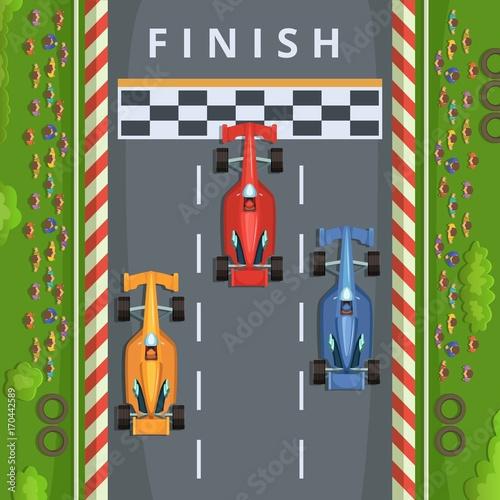 Fotobehang F1 Racing cars on finish line. Top view racing illustrations