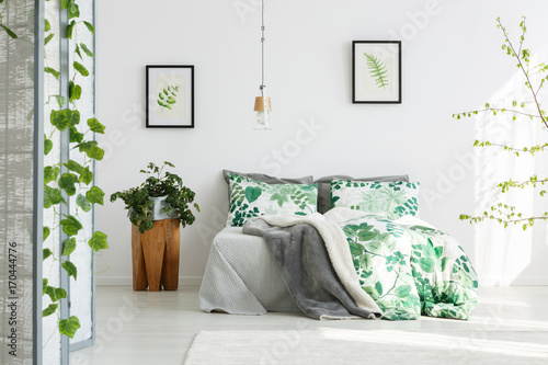King-size bed with floral bedding