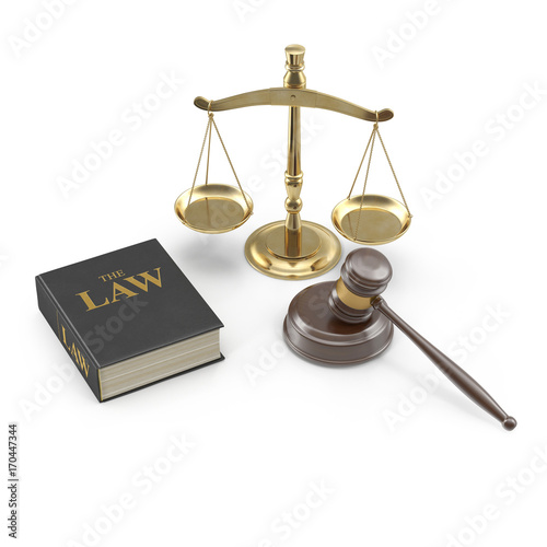 Legal Gavel Scales And Law Book on white. 3D illustration