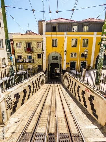 Lisbon - Circa August 2017: Famous historic Ascensor da Bica (Bica Funicular) vi