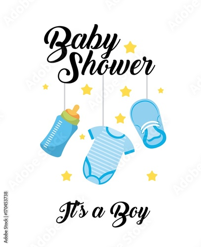 Foto op Aluminium Retro sign baby shower its a boy clothes bottle shoe hang decoration card vector illustration