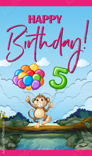 Fotobehang Kids Birthday card with monkey and balloons