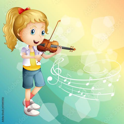 Fotobehang Muziek Little girl playing violin