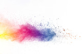 Fototapety Explosion of color powder on white background