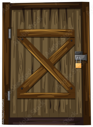 Fotobehang Kids Wooden door with lock
