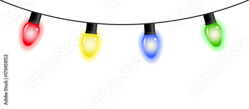 Vector colorful christmas light garland isolated on white background