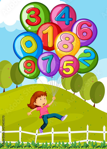 Fotobehang Kids Balloons with numbers and little girl in park