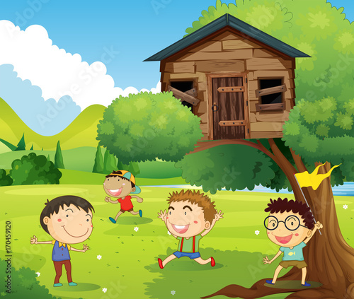 Fotobehang Lime groen Four boys playing in treehouse