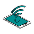 wifi signal on smartphone icon image vector illustration design