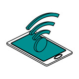 wifi signal on smartphone icon image vector illustration design