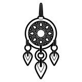 dreamcatcher hanging icon image vector illustration design  black and white - 170464390
