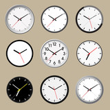 Set of office clock icon design