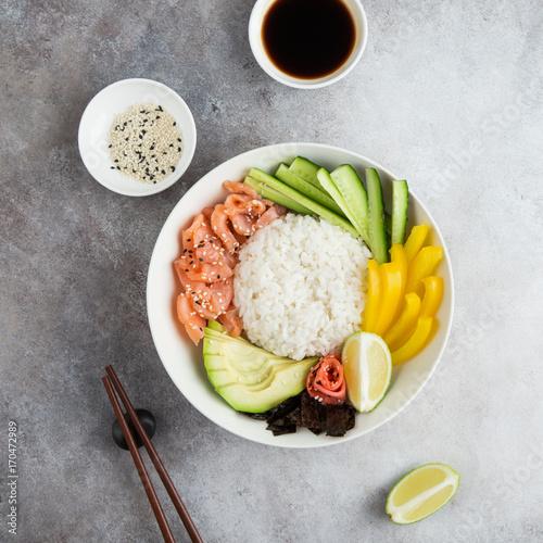 Fotobehang Sushi bar salmon and avocado sushi bowl