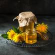 dandelion jam in glass jar - 170473398