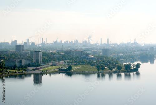 View of the center area of the city and Nizhny Tagil pond from the Fox mountain, Nizhny Tagil, Sverdlovsk region, Russian Federation