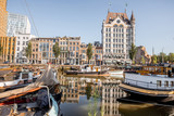 View on the old part of Wijn haven with boats during the morning in Rotterdam