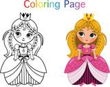 Princess Coloring Page (Vector illustration)