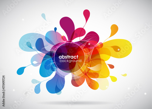 Fotobehang Abstractie Abstract colored flower background with circles and brush strokes.