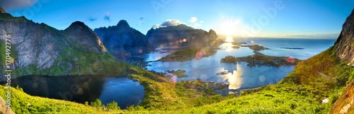 Fotobehang Ochtendgloren Sunrise over fishing village of Reine in Lofoten Islands, Norway