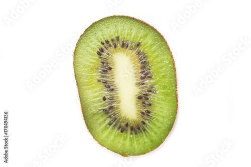 sliced kiwi on white background