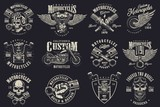 Fototapety Set of vintage custom motorcycle emblems, labels, badges, logos, prints, templates. Layered, isolated on dark background Easy rider