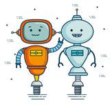 Cute Cartoon Robots Technology  Illustration Graphic Design Wall Sticker