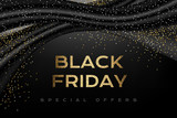 Black friday luxury poster with black decorations and silver confetti. - 170501198