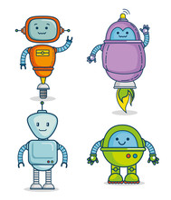 Cute Cartoon Robots Technology  Illustration Graphic Design Sticker