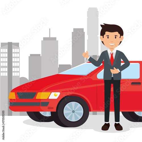 Fotobehang Auto car salesman cartoon vector illustration graphic design