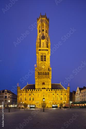 Fotobehang Brugge Belfry And Market Of Bruges At Night