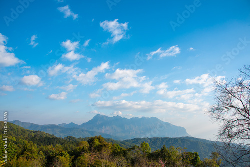 Fotobehang Lente Majestic view of mountain on sunny day with bright blue sky background. Beautiful cloud and sunlight with forest and mountain scene.