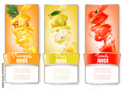 Set of three labels of of fruit in juice splash. Pineapple, pear, tomato. Vector.
