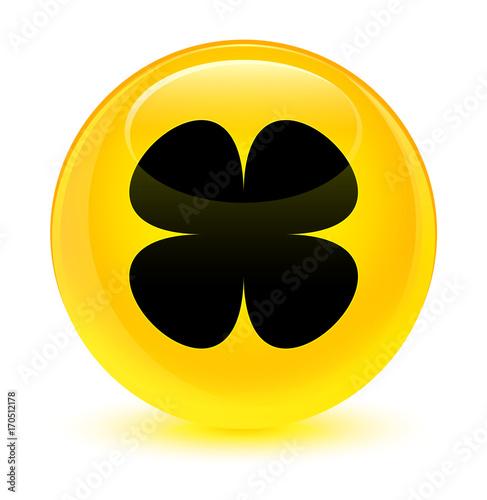 Flower leaf icon glassy yellow round button