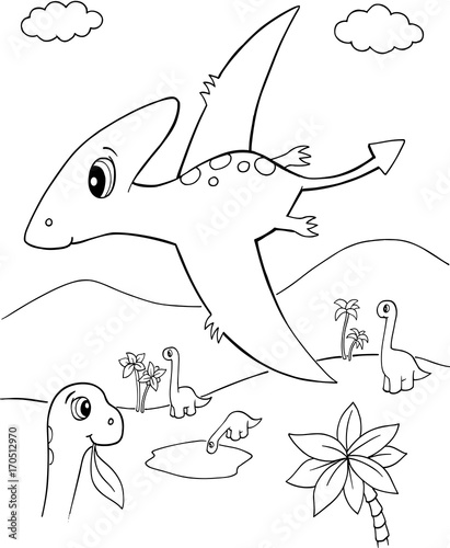 Fotobehang Cartoon draw 7355_Dinosaur