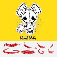 Halloween evil cartoon funny bunny rabbit monster knife set blood. Pop art wow comic book text party. Angry monochrome thread needle sewing voodoo doll. Vector illustration sticker paper.