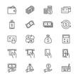 Money thin icons