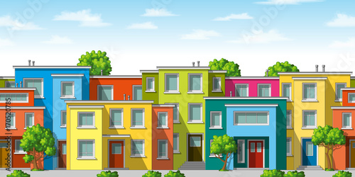 Illustration of colorful modern family house with trees, seamless