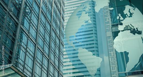 Fotobehang Londen World cybersecurity, finance buildings and world globe