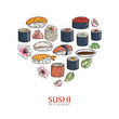 Heart background with sushi and rolls. Japanese traditional cuisine illustration.