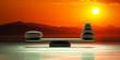 Leinwanddruck Bild - Zen stones scales on sunset background. 3d illustration