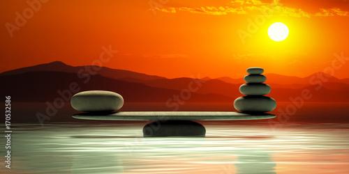 Leinwanddruck Bild Zen stones scales on sunset background. 3d illustration